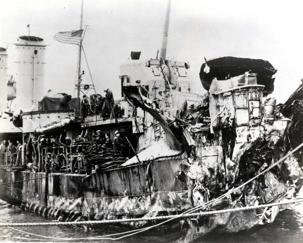 USS Nelson, stern decimated after being torpedoed