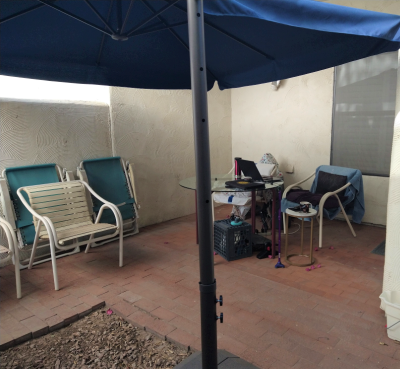 Looking in on Claire's Outdoor Office