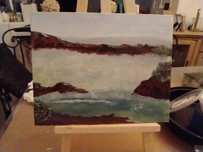 Serene seascape scene with rocky background