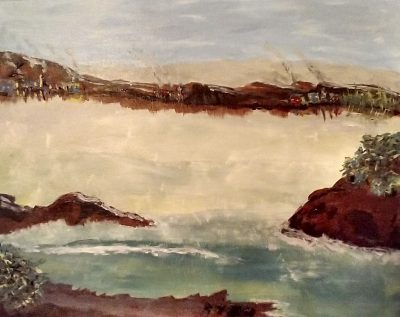 Seascape with village
