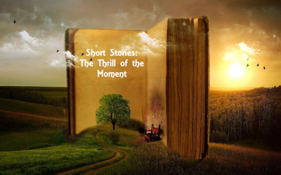 Large open book against a serene landscape